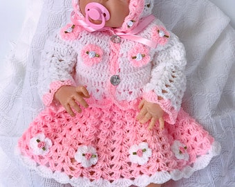 Baby dress, pink baby dress, Crochet baby dress, baby shower gift, Coming Home outfit, Baby Easter Dress, baby Clothing, Flower girl dress,