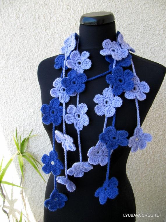 Crochet Pattern Flower Scarf Pattern Crochet Flower Garland