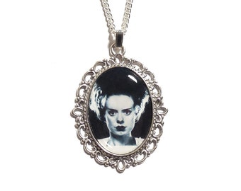 The Bride of Frankenstein necklace pendant silver UNIVERSAL STUDIOS 1935 gothic goth