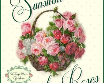 Large digital download Sunshine and  pink roses BUY 3 get one FREE ecs rdtt svfteam
