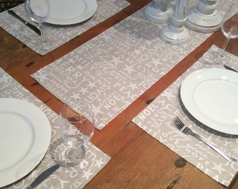 Placemats Christmas Taupe & White  On Trend Festive Text,Quality 50cm x 32cm