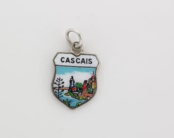 Vintage Sterling Silver Shield Cascais Souvenir Travel Charm