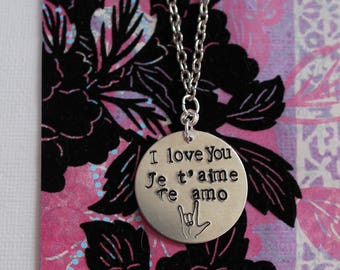 Love language necklace I love you in four languages