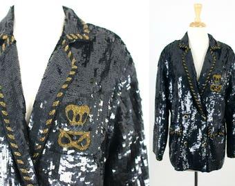 Vintage Black Sequin Blazer MODI Heavy
