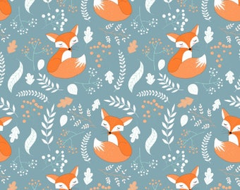 Sleeping Fox Fabric by the Yard Cotton Quilting Fabric Foxes Childrens Minky Knit Organic Cotton Nursery Fabric Woodland Baby 6638785