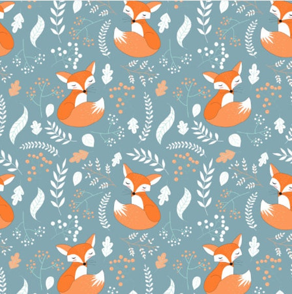 Sleeping Fox Fabric By The Yard Cotton Quilting Fabric Foxes