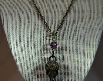 Bird Skull Necklace with Purple Bead