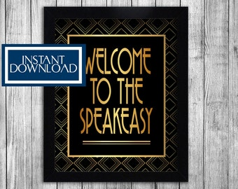 1920s Speakeasy printable party decorations, gatsby themed party signs, welcome to the speakeasy birthday party roaring twenties theme