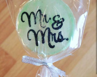Mr. & Mrs. Wedding Lollipops, set of 10, Mint Green, Silver, and Black, Custom Colors Available, Wedding Favors, Wedding Gift