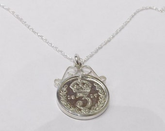 1917 101st Birthday / Anniversary 3D Threepence coin pendant plus 18inch SS chain 101st birthday, 101st birthday gift, 1000th gift, 1917