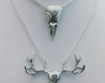 Deer necklace or bird skull necklace, skull collars.