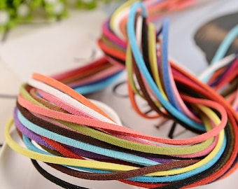 2.5mm* 1m Faux Suede Cord Multi-Color Manmade Leather Soft Lace Thread String Strap Strip Vegan Flat Rope Jewelry Necklace Choker Bracelet