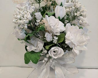 Wedding bouquet with white roses in a silver vase---Free Shipping