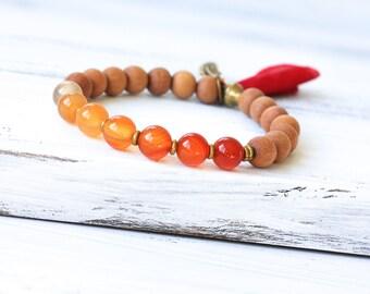 Sandalwood Mala Bracelet, Carnelian Mala Beads, Ombre Bracelet, Carnelian Bracelet, Spiritual Jewelry, Yoga Jewelry, Tassel, Boho