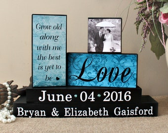 Personalized Wedding Gift, Grow Old Along With Me, Wedding Wooden Sign, Bridal Shower Gift, Fiance Gift, Wedding Decor, Anniversary Gift