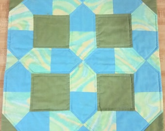 Green and Blue Quilted Table Topper
