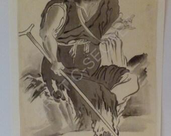 Curiosa Japan painting sumi-e Sennin Taoist