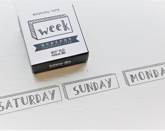 Days of the week washi tape, weekdays washi tape, Bullet journal, planner tape, scrapbook, week, days, washi tape