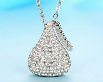 Chocolate kiss machine embroidery pattern stitched kisses 925 sterling silver hershey kisses pave crystal rhinestone pendant cute delicious chocolate necklace pendant chunky kids bubblegum necklace mozeypictures Image collections