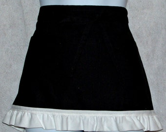 Black and White Apron, Wedding Dollar Dance,  Vendor Apron, Waist, Short, Half, Waitress, No Shipping Charges, Ready To Ship TODAY, AGFT 188