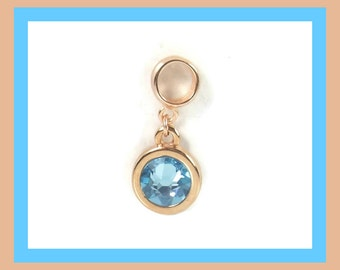 Rose Gold March Birthstone, Sterling Silver Aquamarine Charm, Birthstone Charm Bracelet, Aquamarine Jewelry, Birthstone Charm, Mom Bracelet