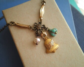 Vintage Michigan Bell Charm Necklace - Retro MI Love Souvenir 10k Gold Petite Bell Flower & Pearl Assemblage Jewelry / Pendant Gift For Her
