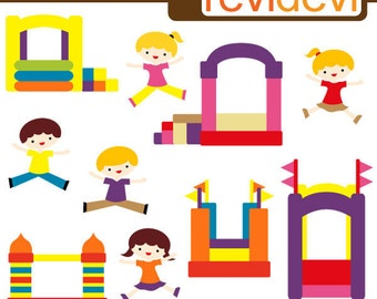 Bounce house party clipart sale / playground clip art, kids jumping playing / commercial use digital clip art / instant download