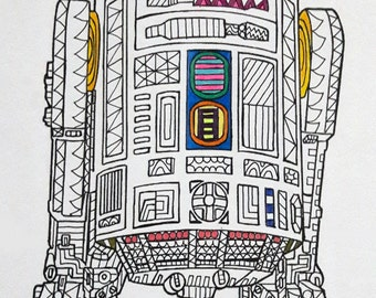 R2 D2 Star Wars Coloring Page Pages Adult PagesPen And Ink Art PDF Zentangle