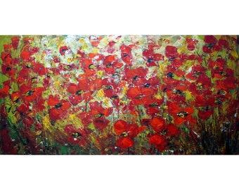 Fleurs de pavot rouges abstrait peinture florale Lome empâtement rouge Orange grande toile