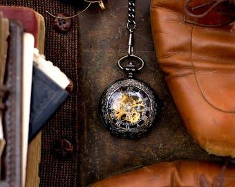 Black Filigree Pocket Watch , Pocketwatch Chain , Pocketwatch Holster , Travel Gifts , Destination Wedding , Steampunk Pocketwatch , Travel