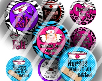 "Digital Bottle Cap Collage Sheet - Medical RN Nursing - 1"" Digital Bottle Cap Images"
