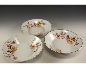 Vintage Tressemann and Vogt set of three small bowls marguerite design yellow roses