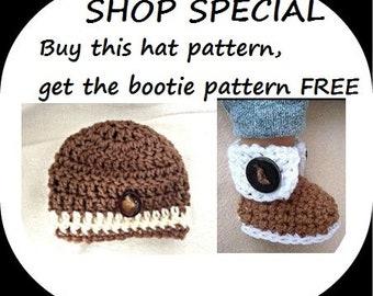 FREE crochet PATTERN - crochet patterns free, buy this hat pattern, get the booties pattern FREE. 2091