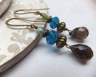 Blue Crystal and Smokey Quartz Nickel Free Earrings