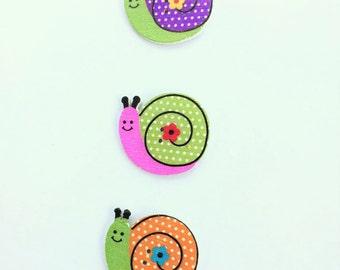 Hot Pink Snails Wooden Buttons - 25 MM Button - Snail Button Notions, Embellishment, Craft Supplies Wood Buttons - Pink and Green Button