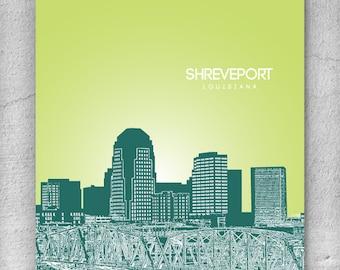 Shreveport LA Skyline / Pop Art Home Gift / Any City or Landmark