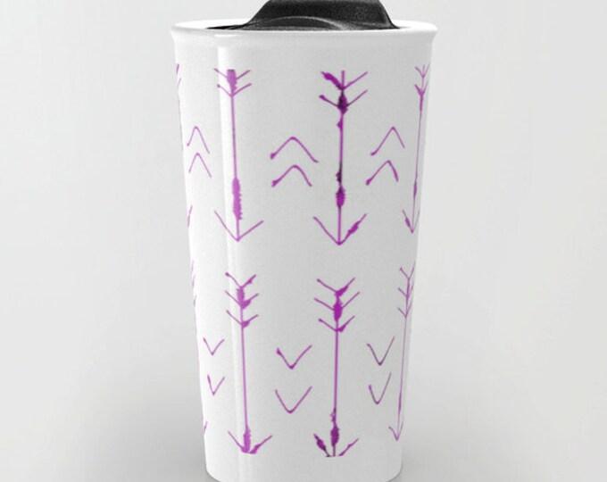 Purple Arrow Travel Mug - Purple and White - Coffee Travel Mug - Hot or Cold Travel Mug - 12oz Travel Mug - Made to Order