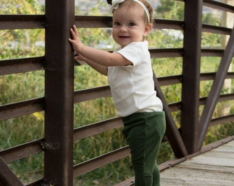 Olive green baby leggings, olive green baby jeggings, green baby leggings, olive green baby pants, fall  leggings, toddler olive green pants