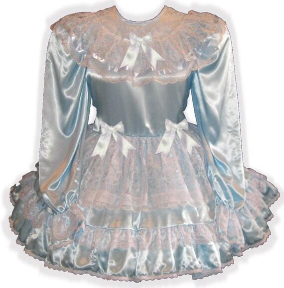 Baby Fit LG Sissy Satin LEANNE Lacy Blue Apron Dress Custom Colleen Adult x7Zq5Y5w
