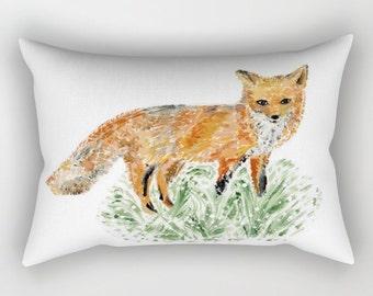 Fox Throw Pillow, fox throw pillow, fox lumbar pillow, nursery pillow, fox nursery, fox decor, small fox pillow, rectangular pillow
