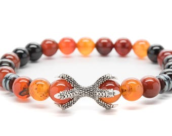 Brown Agate with Claw Beaded Mens Stretch Bracelet