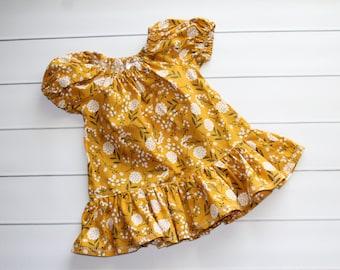 Girls Fall  Tunic - Toddler Peasant Blouse - Girls Peplum Blouse - Toddler Girl Top - Ruffle Top - Vintage inspired Blouse - Mustard floral