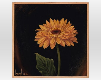 Esperanza Gerbera Daisy - Original Oil Painting on Wood 8x8