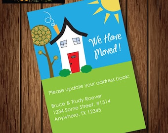 Printable WE HAVE MOVED Postcard - Housewarming
