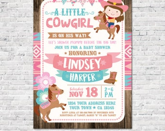 Cowgirl Baby Shower Invitation, Girl Baby Shower Invitation, Horses Baby Shower, Personalized Digital Invitation