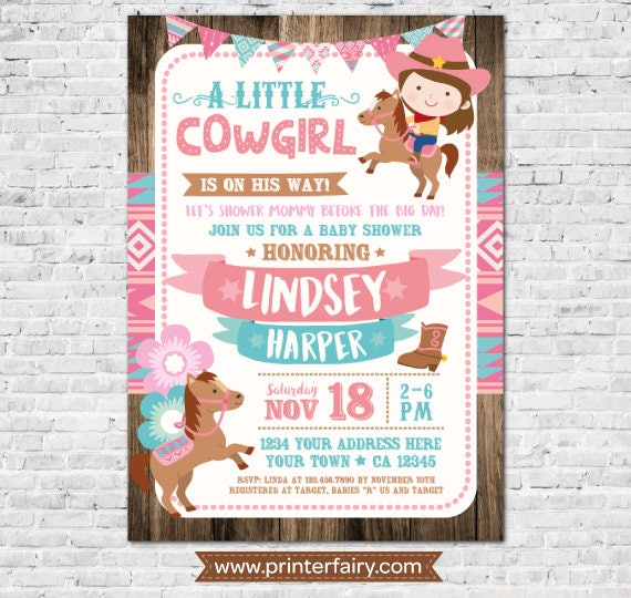 Cowgirl Baby Shower Invitation Girl Baby Shower Invitation Horses