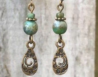 Green Earrings, Bohemian Earrings, Bohemian Jewelry, Bronze Earrings, Boho Earrings, Ethnic Earrings, Rustic Earrings, Tribal Earrings