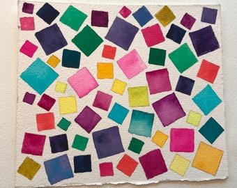 Geometric Watercolor Painting Squares Original Art Contemporary Home Decor