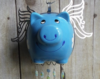 Flying Pig in Blue Stained Glass Handmade Wind Chimes