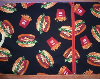compartment for picnic or lunch burgers theme placemat